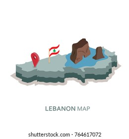 isometric 3d Lebanon map,flag and Raouché (Pigeon Rocks) vector illustration