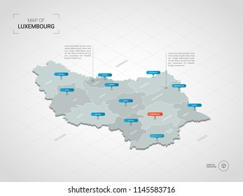Isometric  3D Luxembourg map. Stylized vector map illustration with cities, borders, capital Luxembourg , administrative divisions and pointer marks; gradient background with grid.