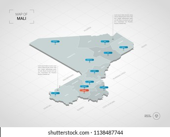 Isometric  3D Mali map. Stylized vector map illustration with cities, borders, capital Bamako , administrative divisions and pointer marks; gradient background with grid.