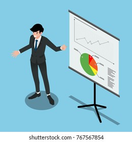 Isometric 3d of a man presenting the summary sales project to improve his company's  profits of the year. Illustration flat vector design.