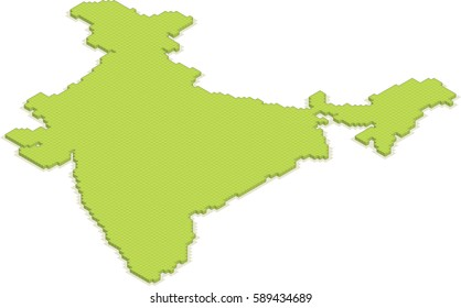 isometric 3D map of India isolated vector country blocks