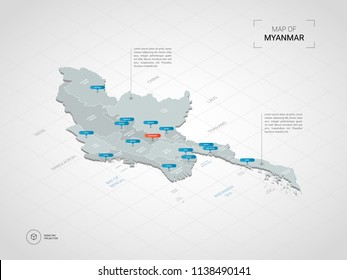 Isometric  3D Myanmar (Burma) map. Stylized vector map illustration with cities, borders, capital Naypyidaw , administrative divisions and pointer marks; gradient background with grid.