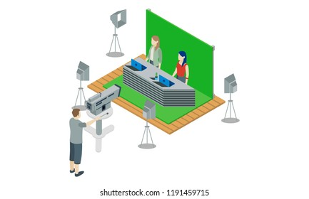 Isometric 3d news announcer green cinematographic background, vector illustration