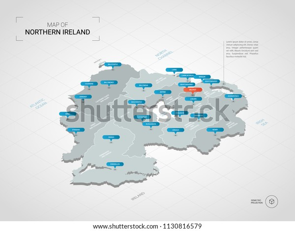 Map Of Northern Ireland Cities.Isometric 3d Northern Ireland Map Stylized Stock Vector Royalty