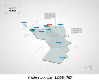 Isometric  3D Oman map. Stylized vector map illustration with cities, borders, capital Muscat , administrative divisions and pointer marks; gradient background with grid.