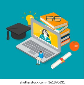 Isometric 3d online education concept with books, laptop, graduation hat and diploma, little man reading book, vector illustration. Learning and science, tutorials and training courses