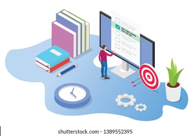 isometric 3d online exam or course concept with books and computer exams with time icon - vector illustration
