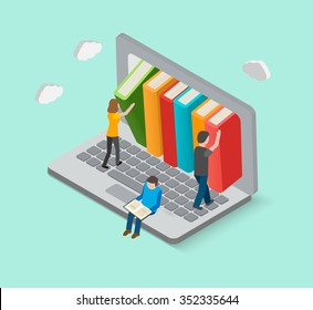 Isometric 3d online library concept with little people taking books from laptop, vector illustration