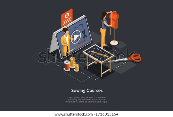Isometric 3d Online Sewing Tailor Fashion Stock Vector Royalty Free 1716015154