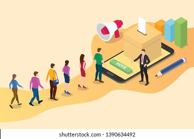 isometric 3d online vote concept with people queued up in line with smartphone voting and box votes - vector illustration