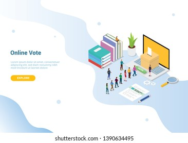 isometric 3d online vote concept with people queued up for website template or landing homepage - vector illustration