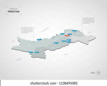 Isometric  3D Pakistan map. Stylized vector map illustration with cities, borders, capital Islamabad , administrative divisions and pointer marks; gradient background with grid.