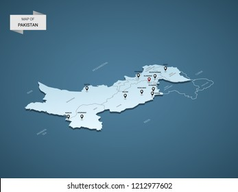 Isometric 3D Pakistan map,  vector illustration with cities, borders, capital, administrative divisions and pointer marks; gradient blue background.  Concept for infographic.