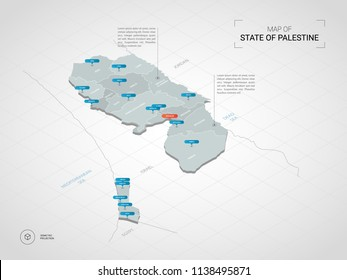 Isometric  3D  Palestine  map. Stylized vector map illustration with cities, borders, capital Jerusalem , administrative divisions and pointer marks; gradient background with grid.