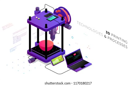 Isometric 3d printer with laptop. Model development and printing concept. Eps10 vector illustration