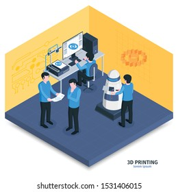 Isometric 3d printing composition with indoor view of room with modelling software and human controlled hardware vector illustration