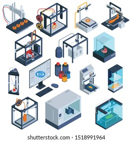 Isometric 3d printing set of isolated 3d printer images with computer modelling software and processed materials vector illustration
