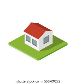 Isometric 3d private house real estate decorative icons. Architecture agency, property and home. Isolated cartoon illustration of building symbol for web