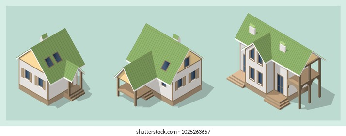 Isometric 3d private house, rural building set. Cottage icon collection. Architecture real estate, property and home, vector illustration. Isolated models, flat, cartoon style. Advertisement, game.