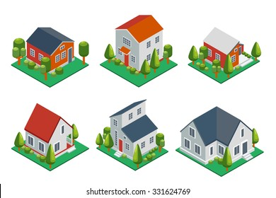 Isometric 3d private house, rural buildings and cottages icons set. Architecture real estate, property and home, vector illustration