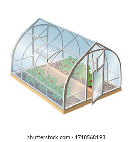 Isometric 3d realistic vector greenhouse with plants and glass with open door. Isolated illustration icon on white background.