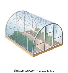 Isometric 3d realistic vector greenhouse with plants and glass. Isolated illustration icon on white background.