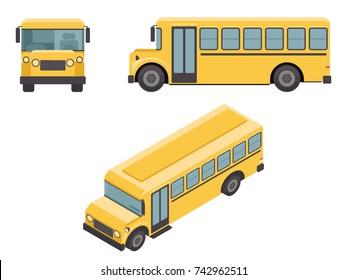 Isometric 3d Retro Flat Design School Buss Car Icons Set Vector illustration