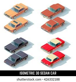 Isometric 3D sedan car, city transport vector icons. Transport car for traffic, auto car set isometric icon illustration
