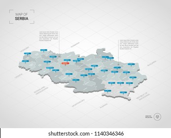 Isometric  3D Serbia map. Stylized vector map illustration with cities, borders, capital Belgrade , administrative divisions and pointer marks; gradient background with grid.