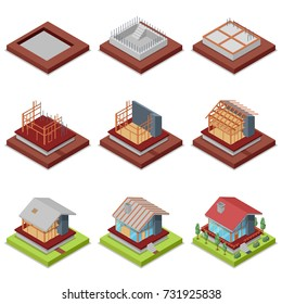 Isometric 3D set construction stages of countryside house. Foundation pouring, construction of walls, roof installation and landscape design. Low poly model of rural real estate vector illustration.