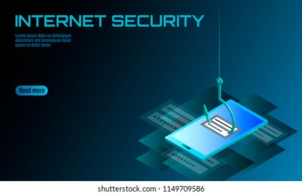 Isometric 3D smartphone login password phishing. Personal information account email hacker. Spam antivirus internet security spam concept banner template card vector illustration