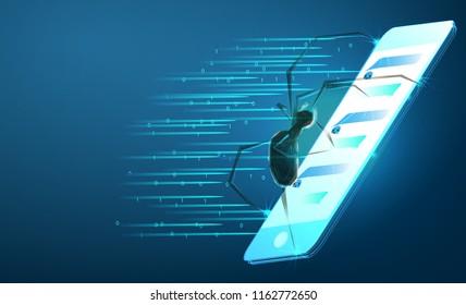 Isometric 3D spider hacker attack danger. Web security virus data safety antivirus concept. Smartphone lock design business concept. Cyber crime web insect bug technology. Low poly vector illustration