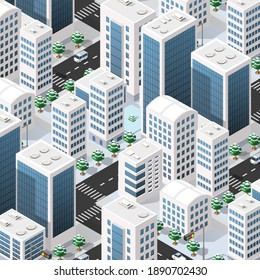 Isometric 3d street downtown architecture district part of the city with outdoor road buildings. City stock infographic illustration