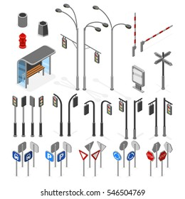 Isometric 3d street, road vector objects icons set.
