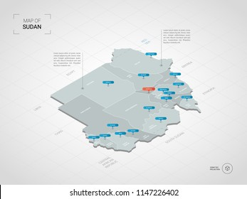 Isometric  3D Sudan map. Stylized vector map illustration with cities, borders, capital Khartoum , administrative divisions and pointer marks; gradient background with grid.