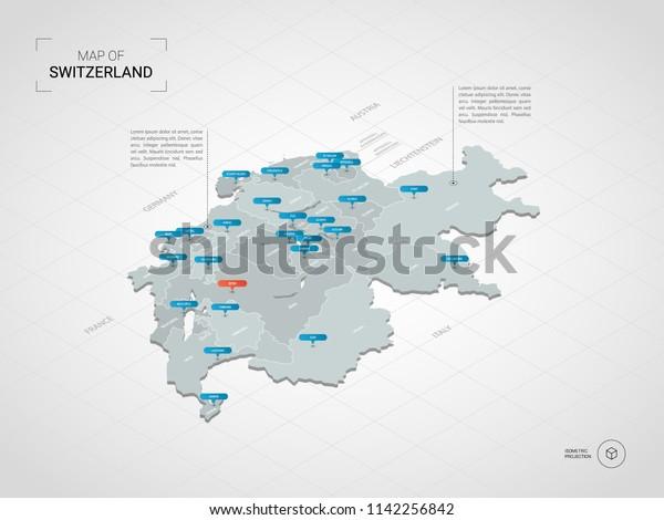 Isometric 3d Switzerland Map Stylized Vector Stock ...