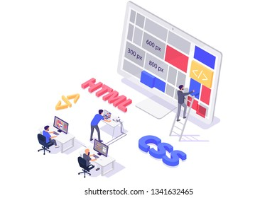 Isometric 3d teamwork building and do layout new modern site. Concept man programmer characters with online web html, css, workplace. Low poly. Vector illustration.