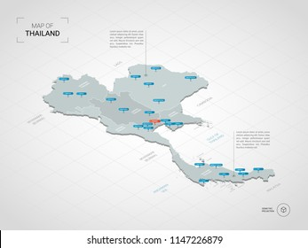 Isometric  3D Thailand map. Stylized vector map illustration with cities, borders, capital Bangkok , administrative divisions and pointer marks; gradient background with grid.