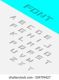 Isometric 3d type font set. Embossed font. Vector illustration