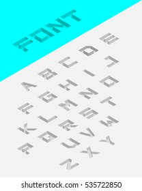 Isometric 3d type letters set. Embossed font. Vector illustration