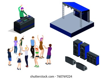 Isometric 3D vector collection of objects for the creation of a night club. DJ party on stage behind the remote control. Dancing people and Scene, DJ remote and speakers