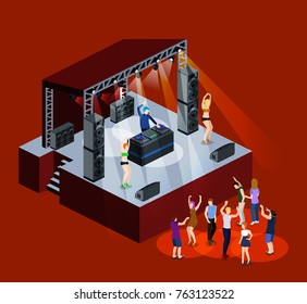 Isometric 3D vector DJ party on stage behind the remote control. Dancing people and night club