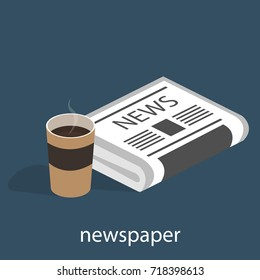 Isometric 3D vector illustration concept a cup of coffee or tea with a newspaper. Fresh news and a hot drink nearby.