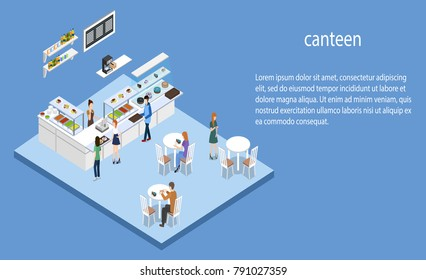 Isometric 3D vector illustration concept of confectionery or canteen with visitors