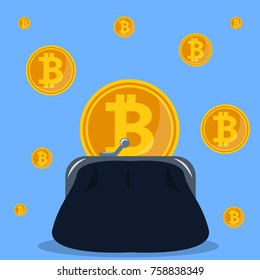 Isometric 3D vector illustration crypto-currency and purse with bitcoin