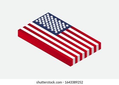 Isometric 3d vector illustration flag of USA America United States of America on white background