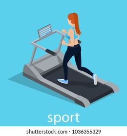 Isometric 3D vector illustration the girl is running on the treadmill