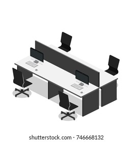 Isometric 3D vector illustration Interior of department office with workplaces