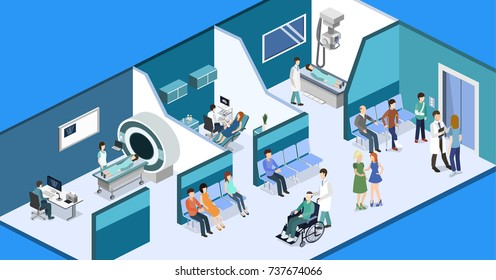 Isometric 3D vector illustration patients waiting room for a doctor. Department of Gynecology, MRI and X-ray room
