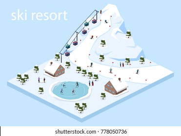 Isometric 3D vector illustration ski resort with cable car on the mountain